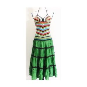 BCBGMaxazria Boho Halter Crotchet Silk Dress SZ 2